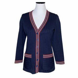 Vintage School Cardigan Sweater Blue Red Long M